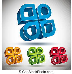 3d abstract icon with 4 elements, set. - 3d abstract icon...