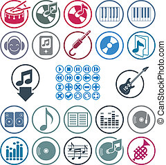 Music icons set, simple single color vector icons set for...