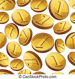Golden coins falling seamless background - Golden coins...