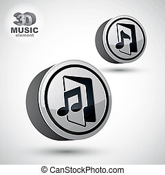 Music folder icon isolated, 3d vector design element.