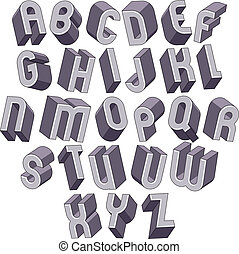 3d bold and big font, monochrome dimensional alphabet made with
