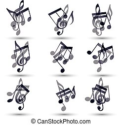 Set of musical notes icons, vector
