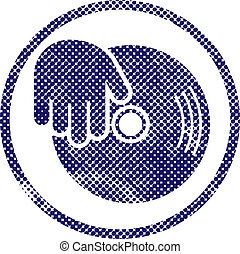 Vinyl and dj hand icon with halftone dots print texture....