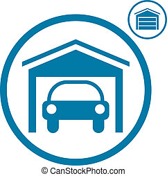 Garage with car icon. - Garage with car vector icon.