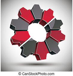 3d gear icon with black and red elements. - 3d gear icon...