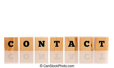 Contact written on a line of wooden blocks on a reflective...