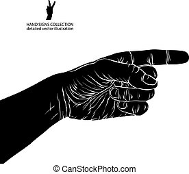 Finger pointing hand, detailed black and white vector...