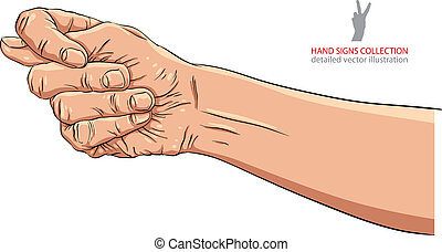 Fig fico hand sign, detailed vector illustration