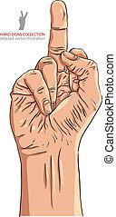 Middle finger hand sign, detailed vector illustration
