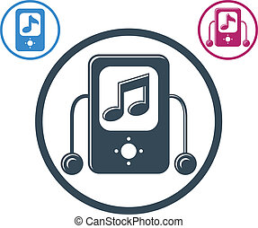 Mp3 player round icon isolated, single color vector music...