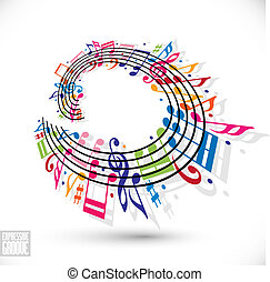 Expressive groove concept. Colorful music background with...