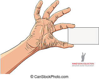 Hand showing business card, detailed vector illustration.