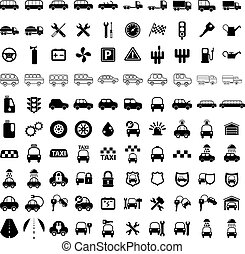 100 car and transport icons - 100 car and transport icons,...