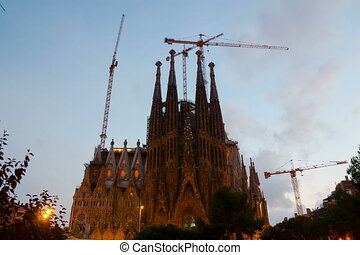 Sagrada Familia in evening time Barcelona, Spain
