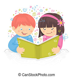 Kids reading book - Kids boy and girl reading the book on...