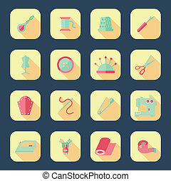 Sewing equipment icons set with pincushion scissors iron...