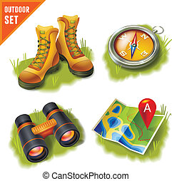 Camping icons set - Camping summer outdoor activity...
