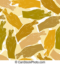 Hands of cheaters with crossed fingers seamless patter, vector b
