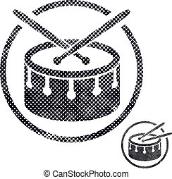 Drum snare icon with halftone dots print texture Macro...