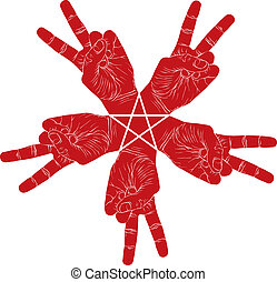 Five victory hands abstract symbol with pentagonal star, vector