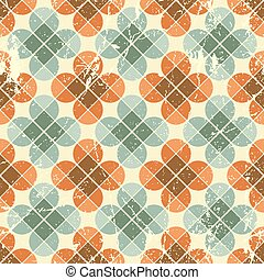 Vintage flower tiles with grunge texture seamless background, ve