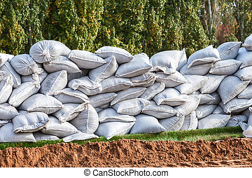 Sandbags for flood defense or military use