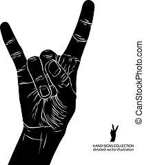 Rock on hand sign, rock n roll, hard rock, heavy metal, music, d