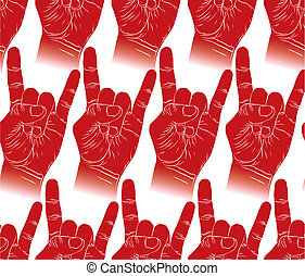 Rock hands seamless pattern, rock, metal, rock and roll music st