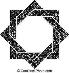 Eight point star vector symbol with hand drawn lines texture...
