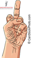 Middle finger hand sign, detailed vector illustration