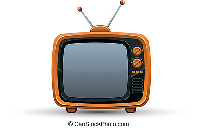 Bright orange retro TV set - Bright orange retro TV set,...