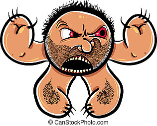 Angry cartoon monster with stubble, vector illustration