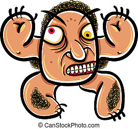 Wierd cartoon monster, absolute crazy numskull portrait,...