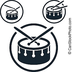 Snare drum icon, single color vector music theme symbol for...