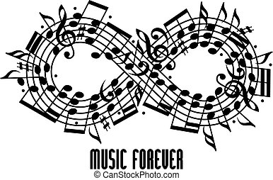 Forever music concept - Forever music concept black and...