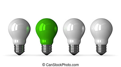 Green tungsten light bulb and three white ones, front view,...