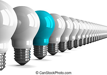 Blue tungsten light bulb and many white ones, perspective...
