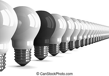 Black tungsten light bulb and many white ones, perspective...