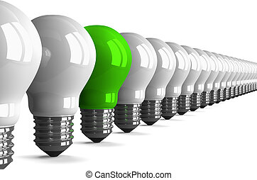 Green tungsten light bulb and many white ones, perspective...