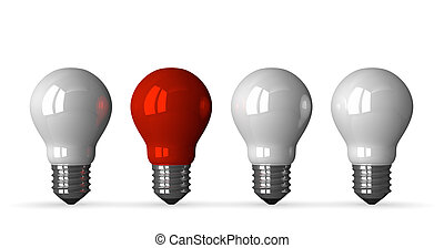 Red tungsten light bulb and three white ones, front view, 3d...