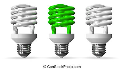 Green spiral light bulb and two white ones, front view -...