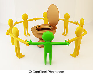 Group of People - 3d rendering of people circle...