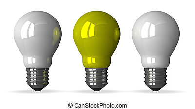 Yellow light bulb and white ones - Yellow tungsten light...