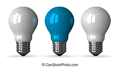 Blue tungsten light bulb and two white ones, front view, 3d...