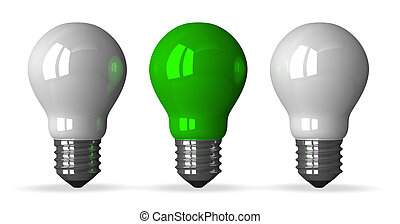 Green tungsten light bulb and two white ones, front view, 3d...