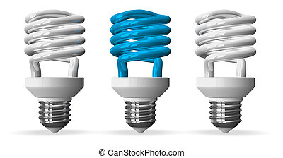 Blue spiral light bulb and two white ones, front view - Blue...