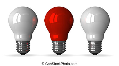 Red tungsten light bulb and two white ones, front view, 3d...