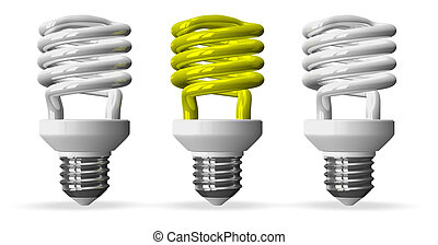 Yellow spiral light bulb and two white ones, front view -...