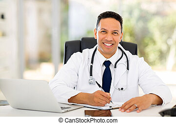 medical doctor in office