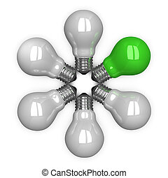 Green tungsten light bulb among white ones lying radially...